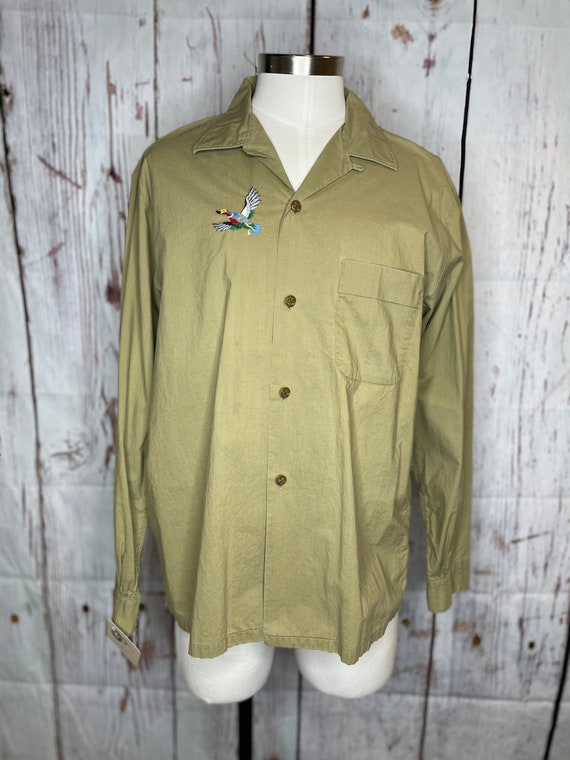 1950s men's duck embroidered shirt