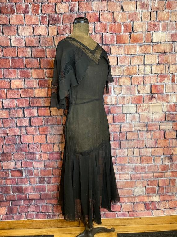 1920s black chiffon dress - image 1