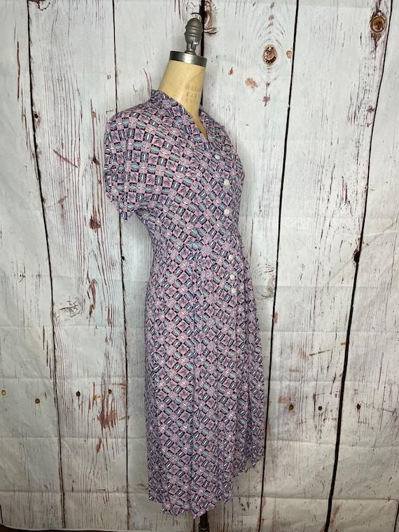 1940s rayon print dress - image 2