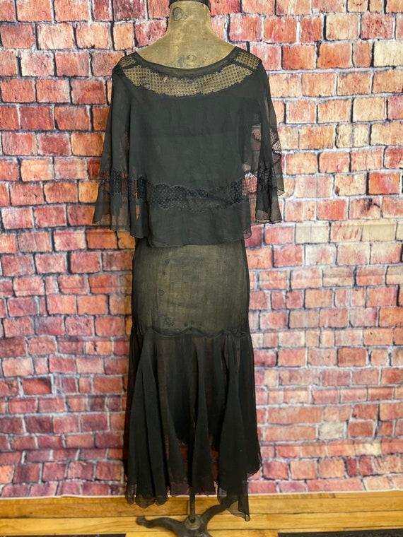 1920s black chiffon dress - image 3
