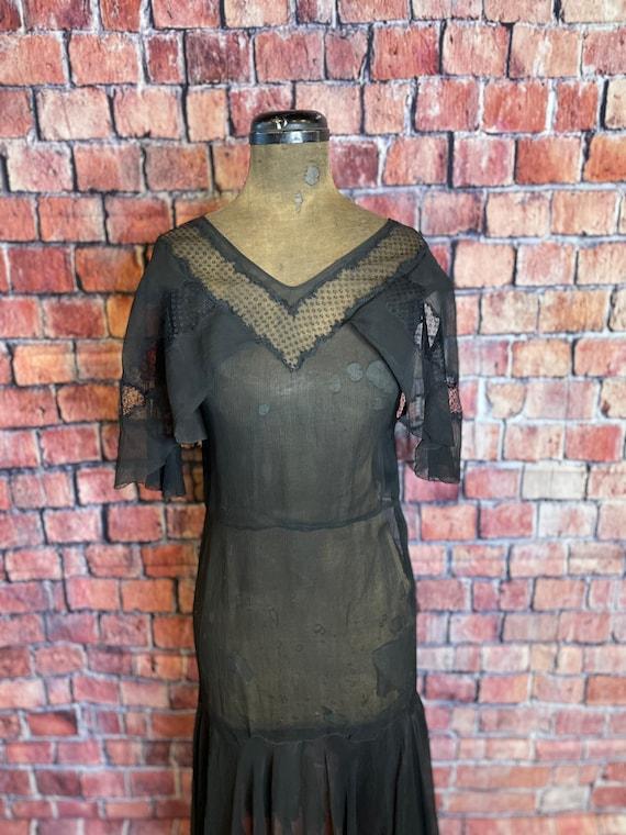 1920s black chiffon dress - image 4
