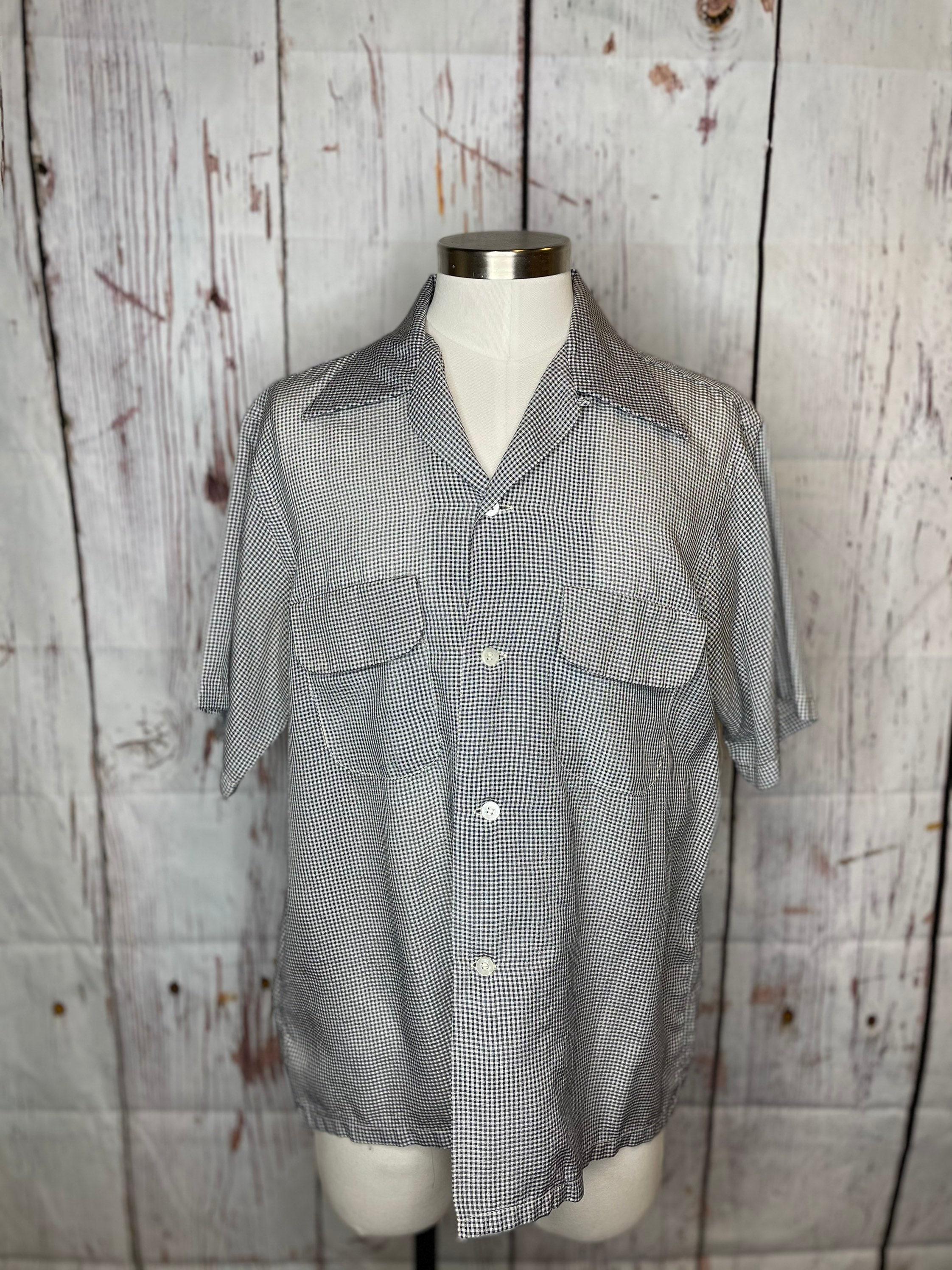 1950s Men's Ties, Bow Ties – Vintage, Skinny, Knit 1950S Mens Gingham Shirt $45.00 AT vintagedancer.com