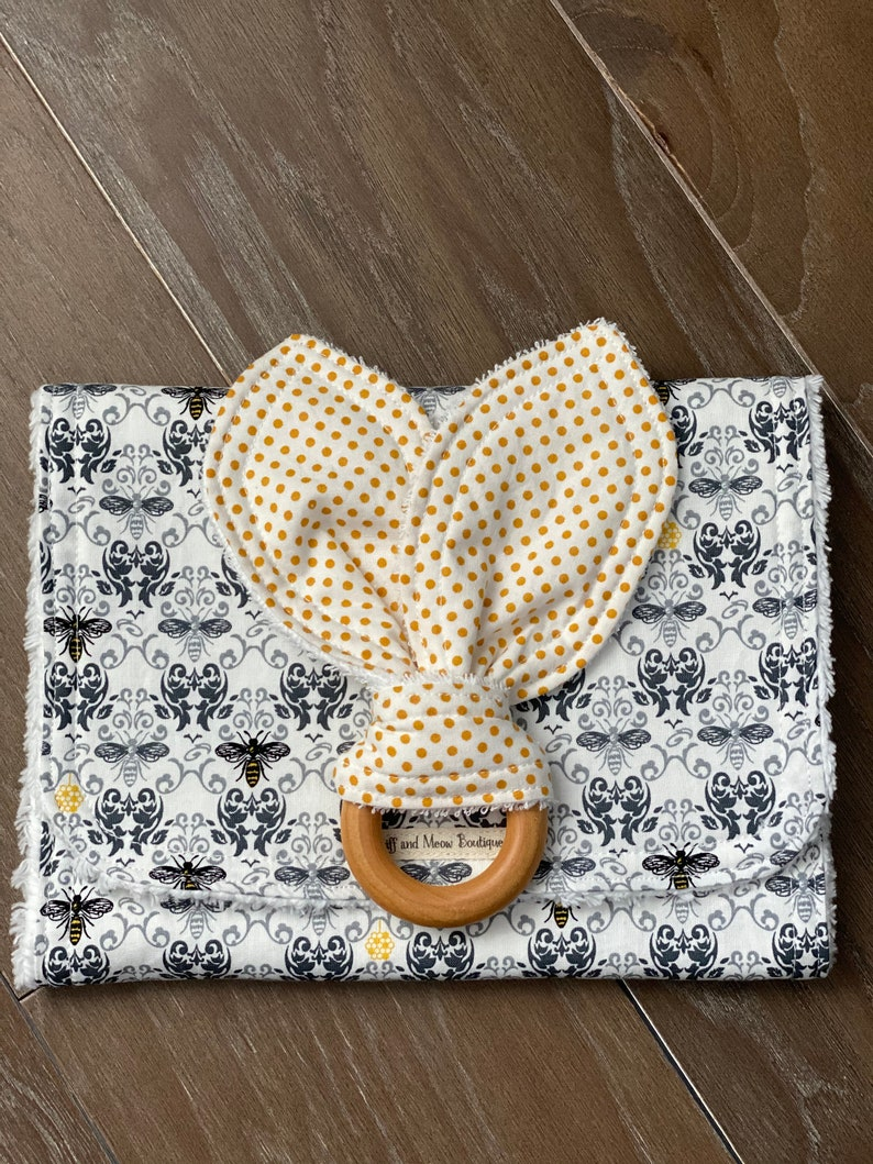 Bee Burp Cloth Bunny Ear Teether Bees Gold Dots Damask Yellow Gray Grey Burp Cloth Set Baby Shower Gift Present Rabbit Ear Teether