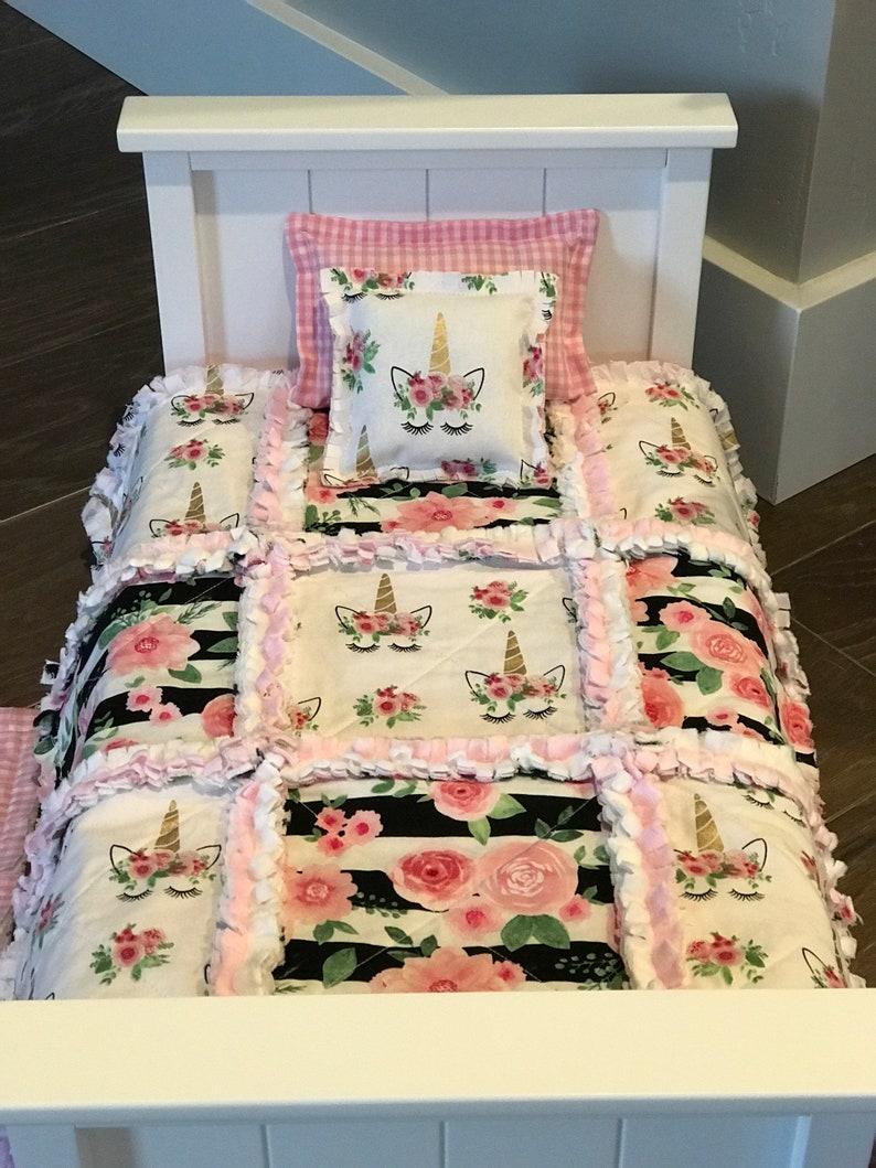 Pink Unicorn 18 Inch Doll Bedding Set Blanket Comforter Set New Dolls Doll Furniture Play Accessories
