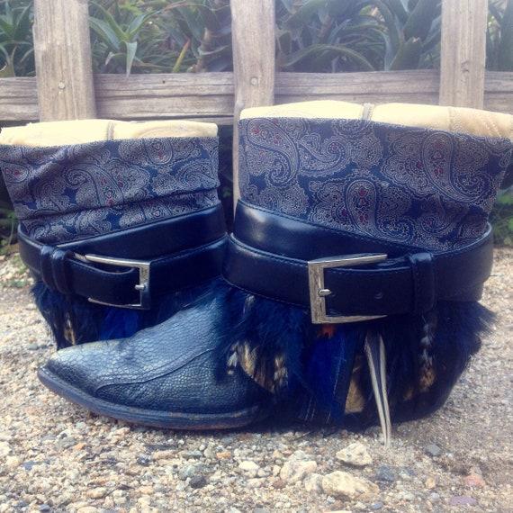 Bereit jetzt Upcycled Boho Zigeuner Hippie Vintage Stiefel Custom überarbeitet umfunktioniert Größe 9,5 Landstraße