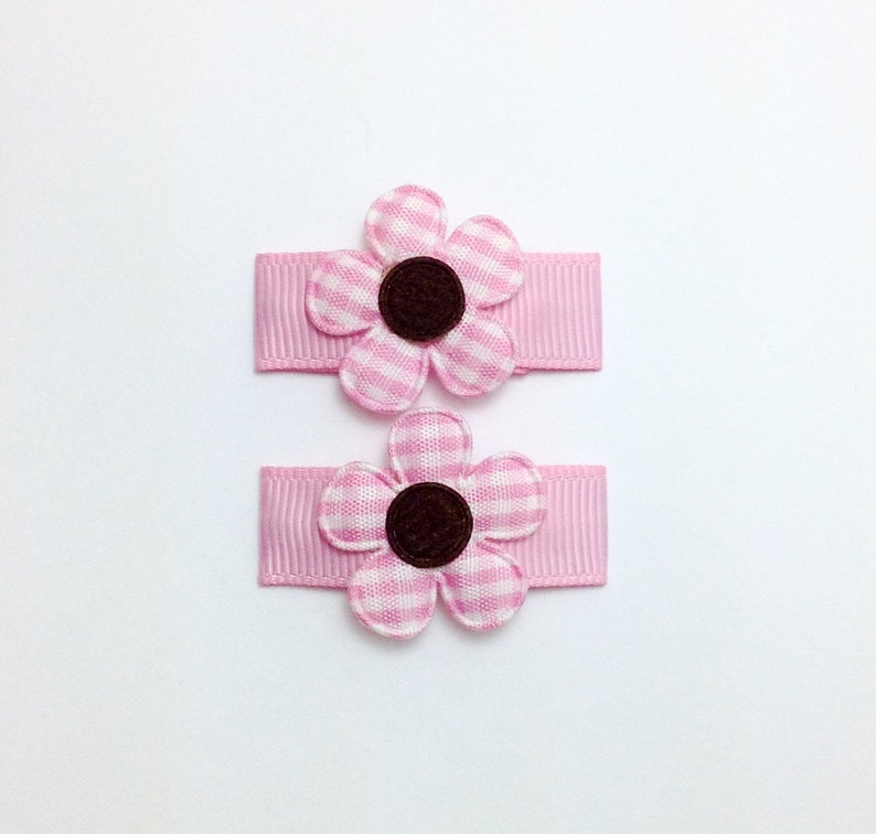 2 or 4 Pink /& Red Ladybug /& Flower Snap Hairclips Girl Barrettes Hair Clips 2/""