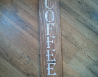 Coffee sign-kitchen-coffee bar-handmade-stained-painted-rustic- kitchen decor