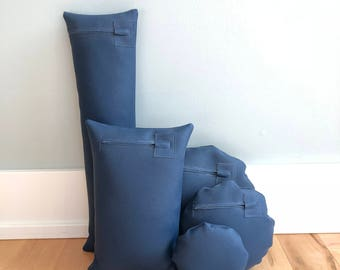 Five Navy Blue Waterproof Vinyl Photo Props for Positioning Baby, Bundled in a Sack