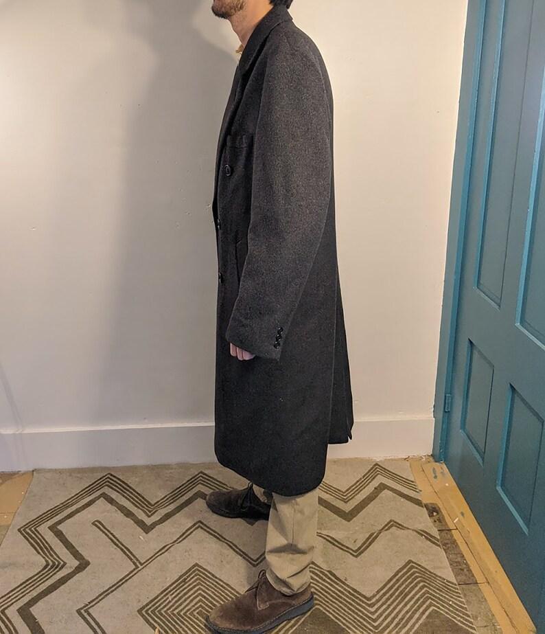 Really Soft Mens Long Professional Business Coat \u2022 Formal Fall Winter Fleece Jacket \u2022 XL L Tall Dark Grey Duster Double Breasted