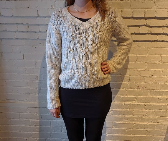 Vintage 1970s Knit Sweater Top • Cute Cuddly Hand