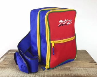 Colorblock Backpack 1990s Backpack Messenger Bag Sporty One Shoulder Club Kid Vaporwave Rave Bag 90s Backpack Square Cellphone Stash Pockets