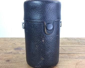 Leather Camera Lens Case Takumar Made in Japan Cylindrical Velour Lined Mid Century Camera Case Black Pebbled Leather Stash Case Box Purse