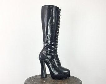 4901f146427 Knee Boot Platform Heel Pleaser Women s 8 Men s 6 Go Go Dancer Goth Fetish  Rave Black Patent Vegan Witch BDSM Exotic Dance Club Y2K Cam Sex