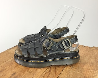 48949e7261ce Dr. Martens Platform Women s 11 Men s 9 Sandal Leather Black Contrast  Stitching Y2K Goth Festival Gladiator 1990 s Black Platform Sandals