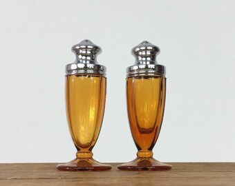 Art Deco Salt and Pepper Shakers Amber Glass Chrome Mid Century Salt and Pepper Shakers Faceted Footed Classic Formal Art Deco Salt Pepper