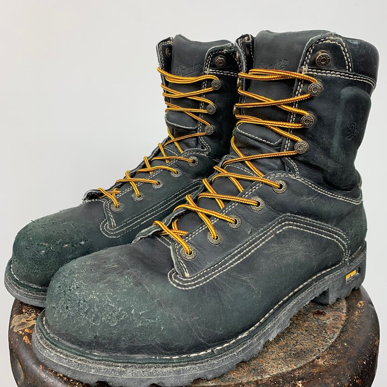 98086e0725d Danner Quarry Work Boots Men's 11.5 Women's 13.5 Lace Up Leather Grunge  Distressed Ankle Boot Combat Boot Round Toe Navy Blue
