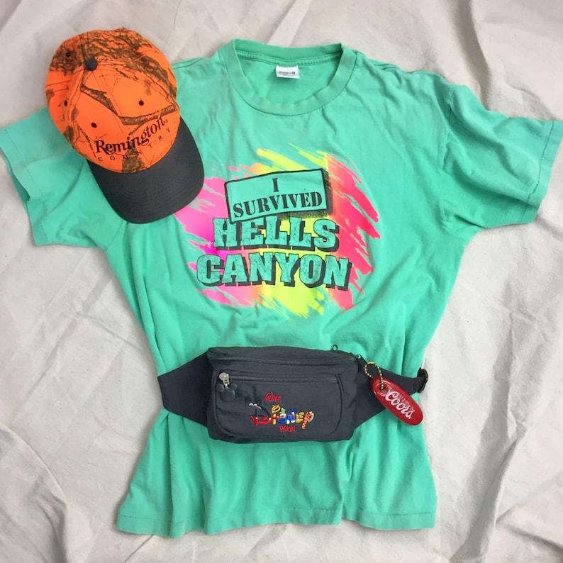 41badb162 I Survived Hells Canyon Neon Vintage T Shirt Men's L | Etsy