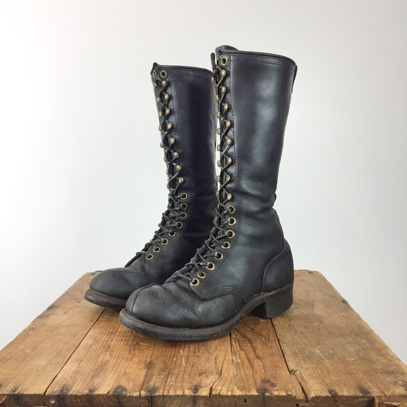 801b069c32584 Leather Moto Boots Tall Black Leather Women's 9 Men's 7 Goth Industrial  Distressed Punk Brass Eyelets Calf Knee Round Toe Combat Work Boot