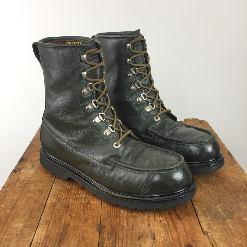 ca306909444 Moc Toe Boots Men's 11.5 Women's 13.5 Cabela's Leather Black Green Outdoors  Goretex Vibram Sole Military Combat Work Boot Utility Grunge