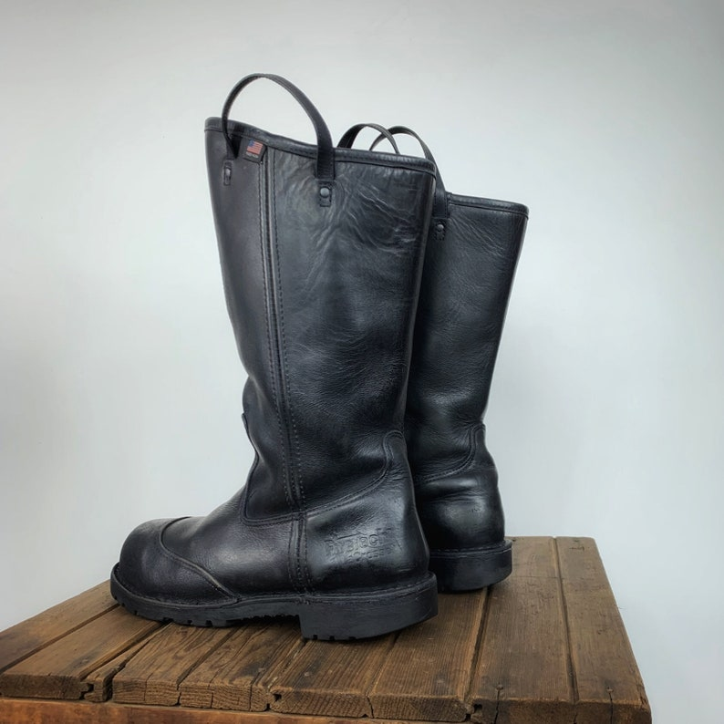 2290215b656b4 Firefighter Boots Men's 11 Women's 13 Black Leather Boots Metalworker  Motorcycle Rave Goth BDSM Fetish Industrial Knee Mid Calf Pull On