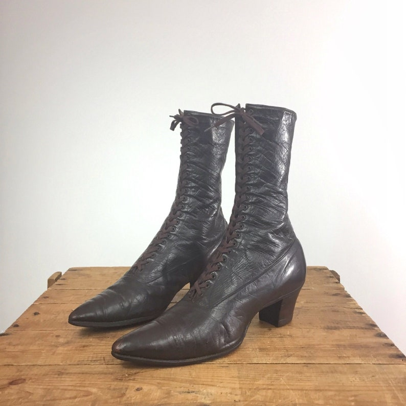 5a0f066e54e Edwardian Boots Lace Up Pointy Toe Leather Victorian Boots
