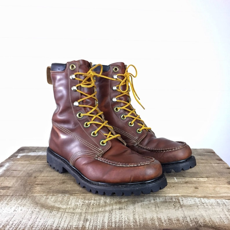 49d8644247b Leather Work Boots Moccasin Moc Toe Brown Men's 10 Women's 11 Vintage  Leather Work Boots Eyelet Lace Up USA Made 6
