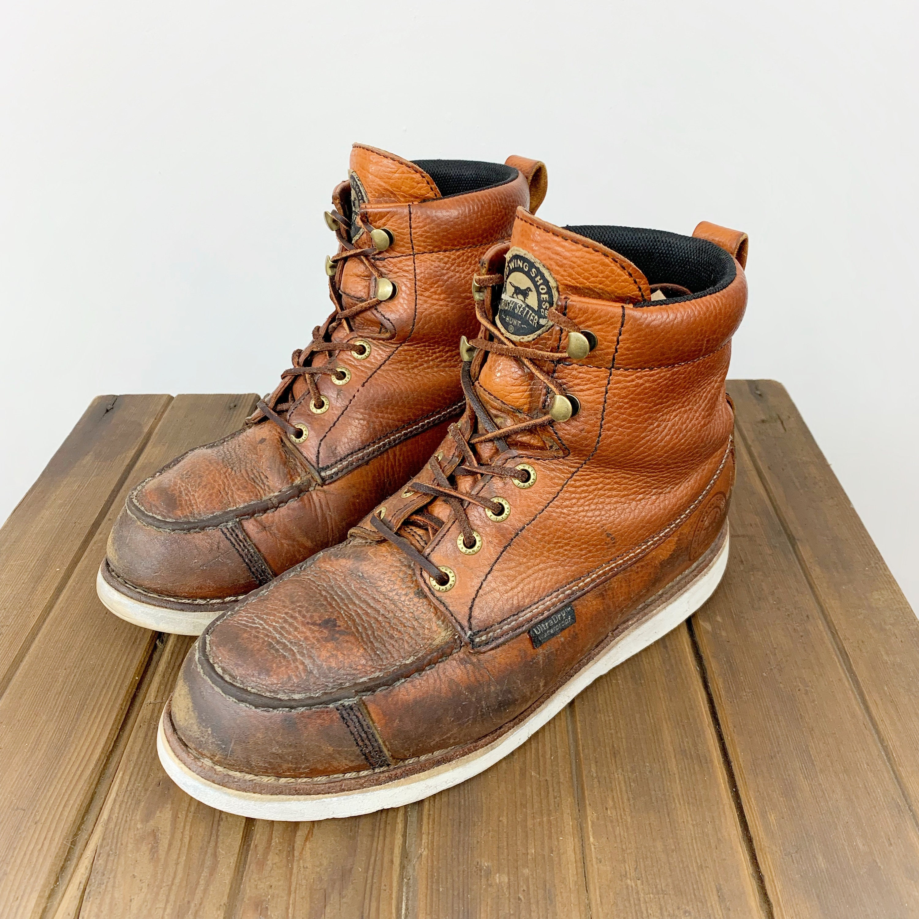 ae034b9cfc173 Pebble Leather Work Boot Irish Setter Red Wing Men's 8.5 Women's 10.5 Moc  Toe Moccasin Carmel Lacing Round Toe Distressed Grunge Wedge Crepe