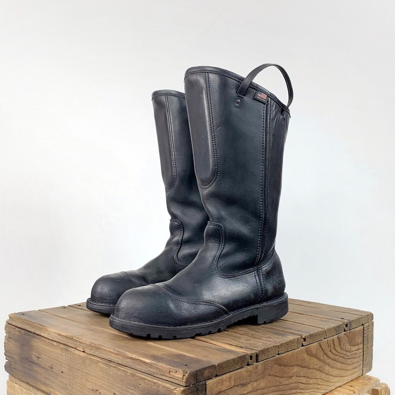197b4eca258 Firefighter Boots Men's 11 Women's 13 Black Leather Boots Metalworker  Motorcycle Rave Goth BDSM Fetish Industrial Knee Mid Calf Pull On