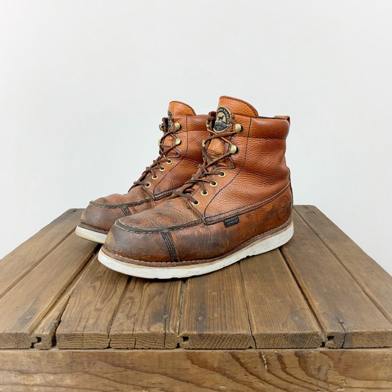 bde16a007b8 Pebble Leather Work Boot Irish Setter Red Wing Men's 8.5 Women's 10.5 Moc  Toe Moccasin Carmel Lacing Round Toe Distressed Grunge Wedge Crepe