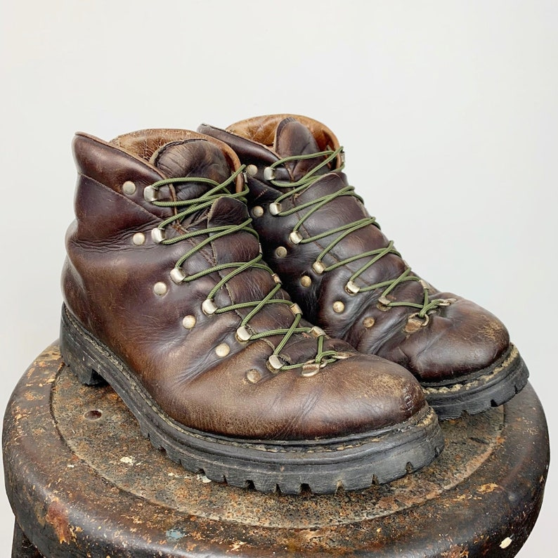 b9c0b8ad6a3 Mountaineering Boots Leather Hiking Boot Men's 7.5 Women's 10.5 High Top  Ankle Boot Eyelet Lace Up Brown Distressed Work Boot Lumberjack