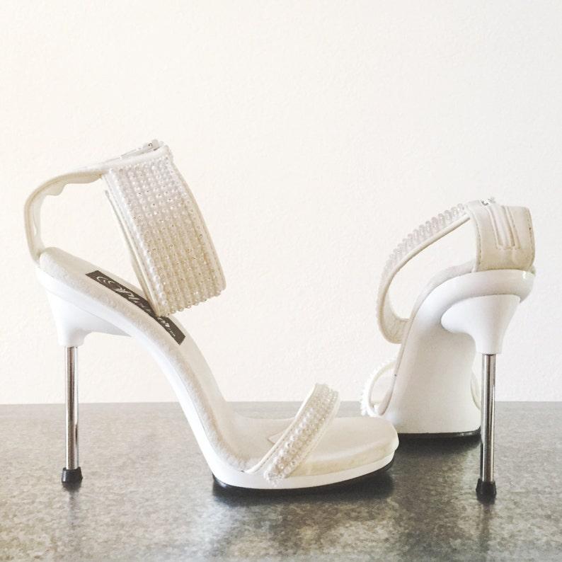 f6cb53b1c3 Pleaser Sandal Heels Ankle Strap Rhinestone Cuff Size 5 | Etsy