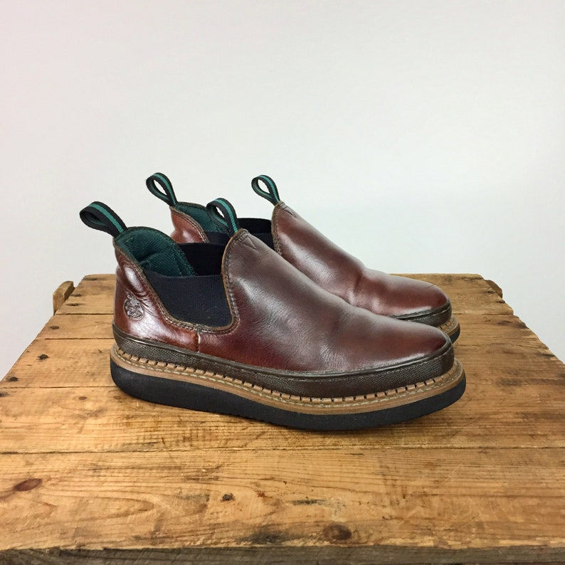 7715d055d6a02 Slip On Leather Boot Men's 8.5 Women's 10 Georgia Romeo Boot Round Toe  Wedge Crepe Brown Full Grain Leather Pull On Work Boot Lived In Boot