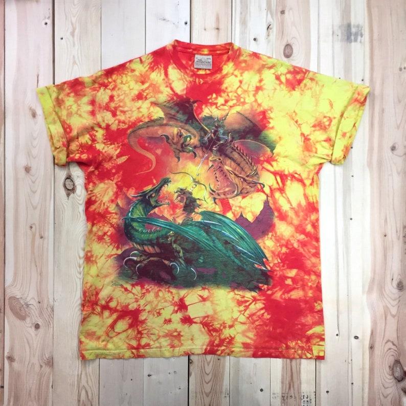 Vintage Fantasy T Shirt Dragon Slayer Knight Tie Dye Y2K Nerd Oversized 53