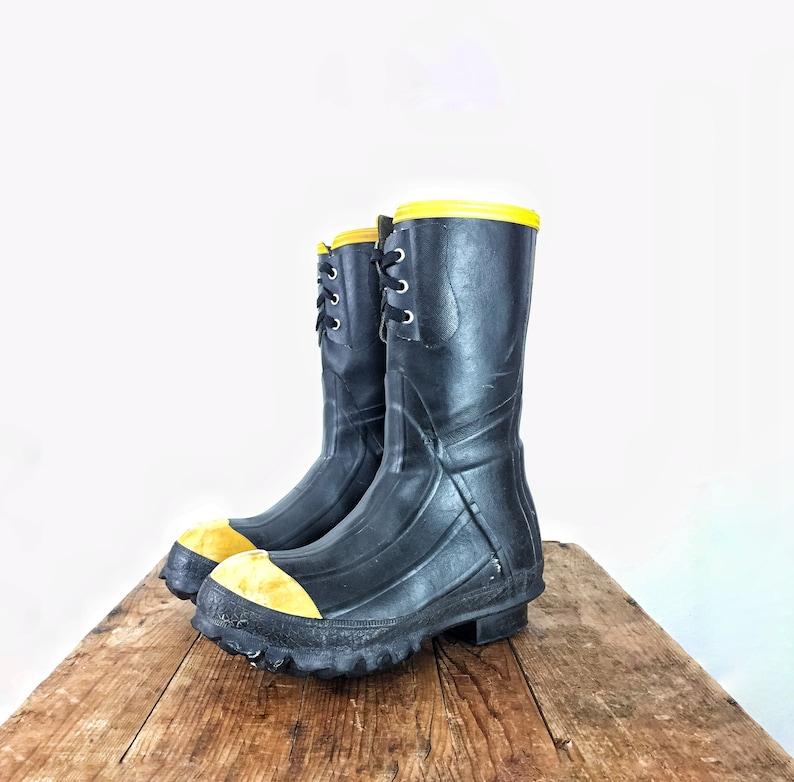 eb7ccffb70b Rubber Boots La Crosse Men's 6 Women's 8 Black Yellow Lace Up Mucking Boot  Platform Raver Rave Goth BDSM Fetish Industrial Knee Mid Calf