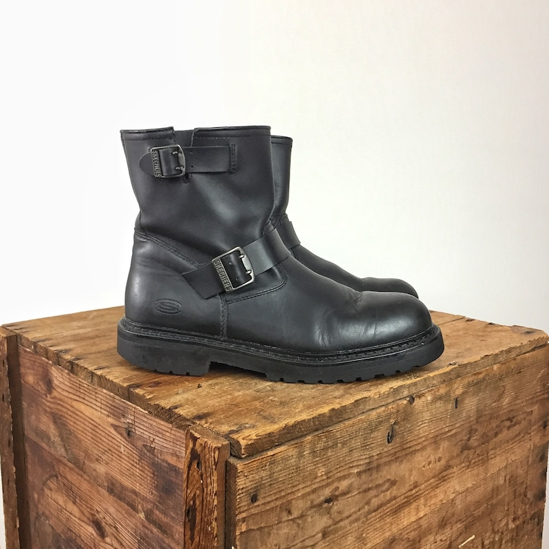 6d652197c636f 1990s Black Leather Boots Men's 11.5 Women's 13.5 Motorcycle Boots Combat  Y2K Grunge Goth Industrial Sketchers Boots Chunky Buckle Slip On