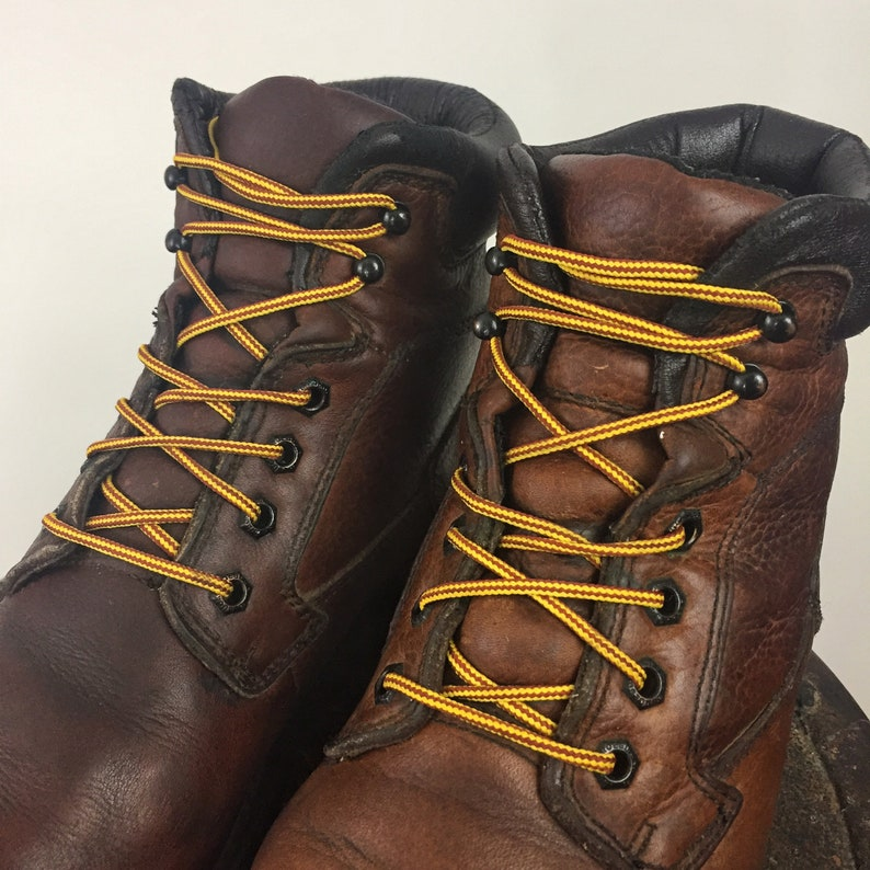 d4e07e02df3 Work Boots Brown Leather Men's 10 Women's 12 Grunge Boots Outdoor Roebucks  Lace Up Ankle Boot Lumberjack Carpenter Full Grain Utility Boot