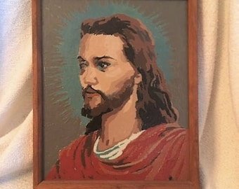 Paint by Number Jesus Face with Teal Blue Halo Red Robe Religious Art Catholic