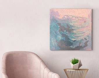 pink abstract painting - coral seas - original art australian art, pink art, australian painting acrylic painting, patterned artwork in pink