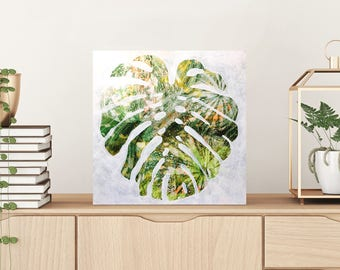 patterned plant artwork mostera leaf painting - tropical plant, original art, contemporary art, leaf art, variegated leaf, ink and acrylic