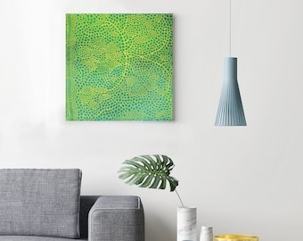 abstract painting acrylic and lace - orbicular - australian art, original artwork patterned art, interior decor, green art, contemporary art