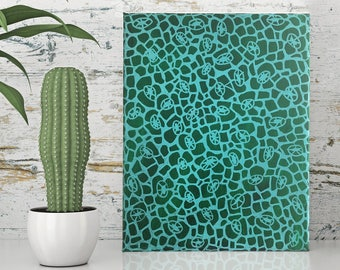 acrylic abstract painting on canvas - natures lace - original artwork ooak, australian art, contemporary art, pattern green art, small art