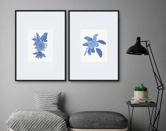 blue floral print limited edition frangipani flower - modern art print, botanical, australian art, contemporary art, security envelope art