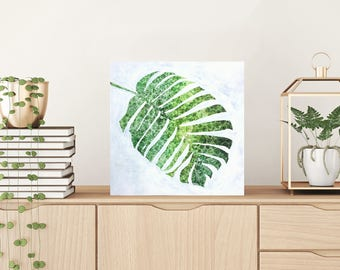 patterned leaf artwork tropical leaf painting - tropical plant, ooak, contemporary art, leaf art, variegated leaf, acrylic, tropical art