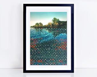 contemporary landscape art - woven photography, photographic weaving, original art ooak artwork, unique landscape artwork, - river shimmer