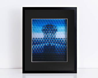 manipulated photograph of tree - abstract nature, landscape art, modern art, australian art, contemporary art - family tree cubed in blue