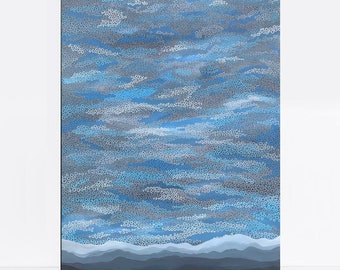 abstract landscape painting - moutain stormy weather sky clouds - australian art, original art, moody blue painting, acrylic art on canvas