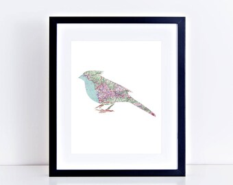 """map bird print 10x8"""" - limited edition artwork - collage, bird art, wall decor, map prints, vintage map art, travel lover, pink and blue"""