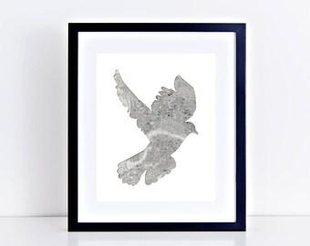 "london pigeon art print - 10x8"" limited edition artwork, map bird collage, black and white wall art, UK home decor, london art, bird art"