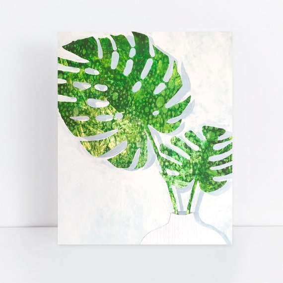 Tropical Leaf Painting Mixed Media Monstera Leaves In Vase Etsy Tropical leaf is made of soft plastic material and the color and texture are similar to real plants. etsy