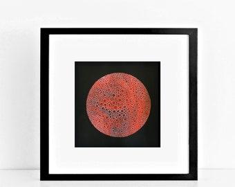 abstract art abstract painting - pollen grain 1 - australian art, original art, red painting, contemporary art, works on paper, pattern art